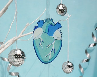 Blue Anatomical Heart Christmas Decoration - Mexican Christmas Tree Ornament