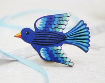 Bluebird Pin Badge - Blue Bird Wooden Brooch
