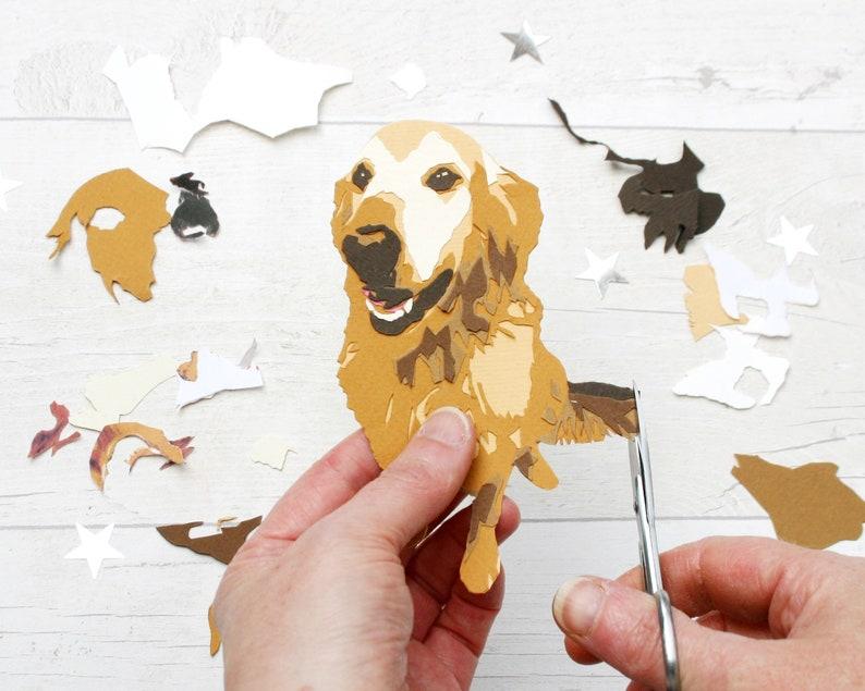 Custom Dog Papercut Portrait  Personalised Dog Illustration image 0