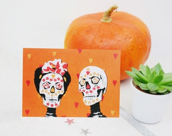 Halloween Wedding Card - Day of the Dead Anniversary Card