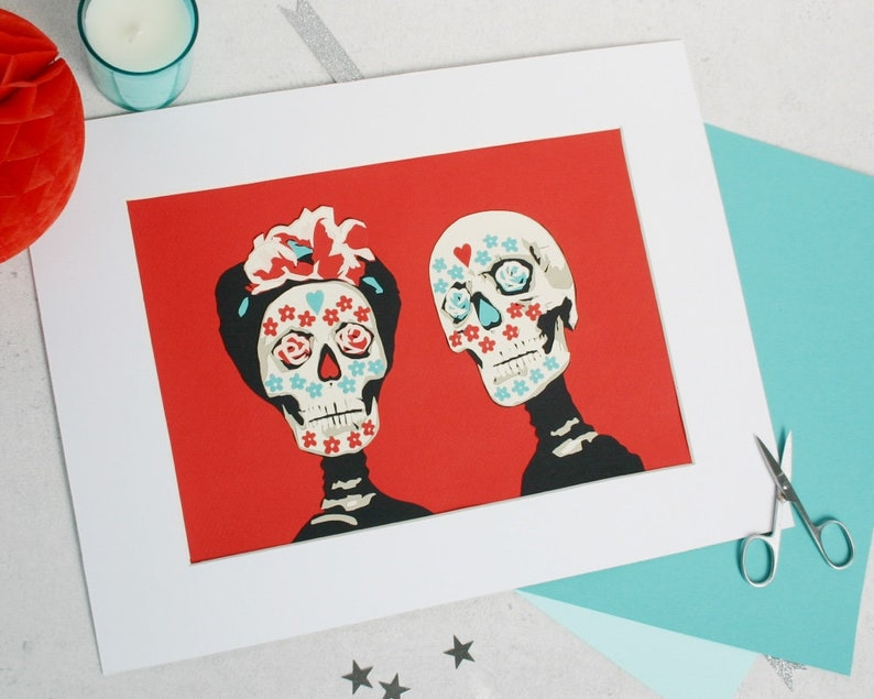 Mexican Day of the Dead Personalised Wedding Papercut  Sugar image 0