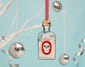 Tequila Christmas Tree Decoration - Wooden Tequila Bottle Ornament
