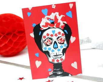 Frida kahlo with watermelons card day of the dead greetings frida kahlo greetings card sugar skull birthday card mexican day of the dead birthday card cinco de mayo card red skull card m4hsunfo
