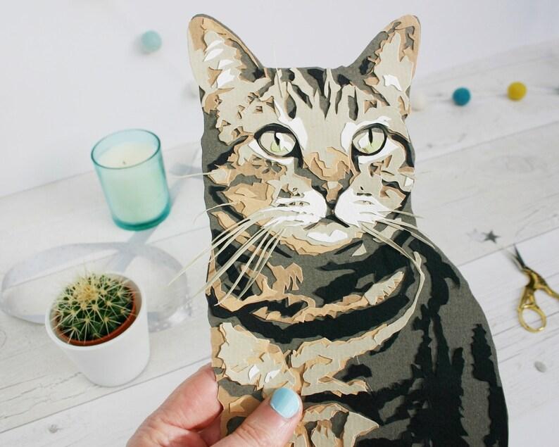 Cat Papercut Portrait Illustration  Cat Memorial Gift image 0