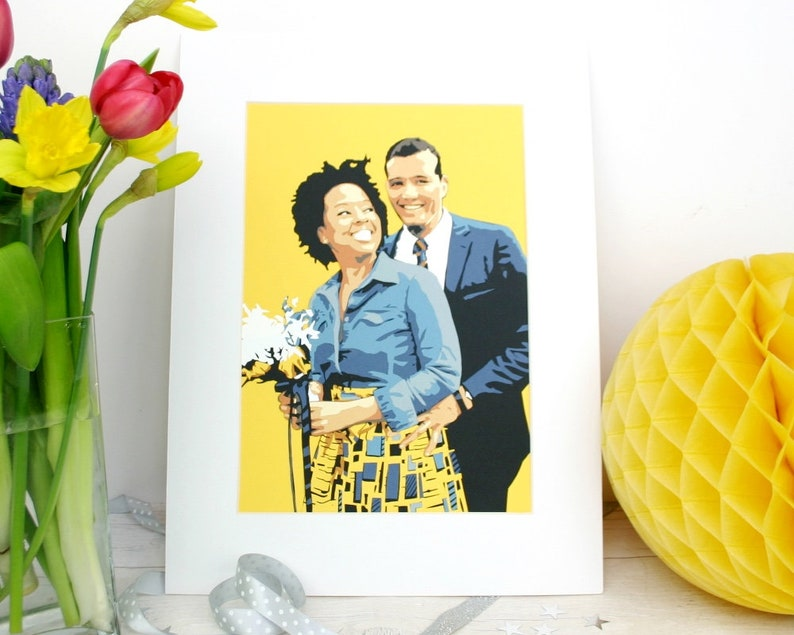 Couple Paper Portrait  Newlywed / Engagement / Wedding / Large 30 x 21 cm