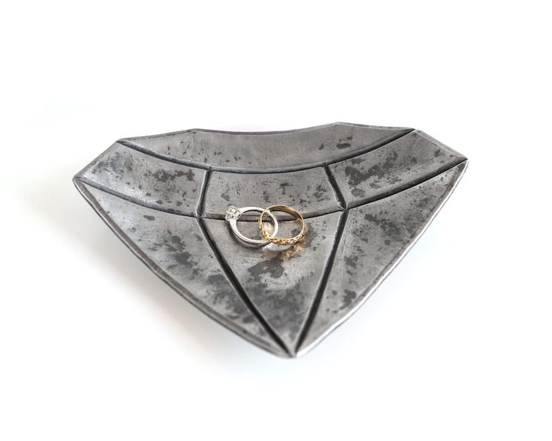 Diamond ring dish  hand forged jewelry bowl  wedding anniversary gift for her
