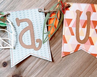 Autumn Letter Garland, Letter and Leaf Bunting, Fall Leaf Garland, Autumn Leaf Decor, Fall Leaf Bunting, Fall Decoration Thank You Gift