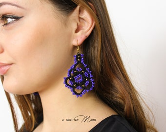 Black lace earrings with violet beads, cotton jewelry gift for schoolgirl, chandelier earrings