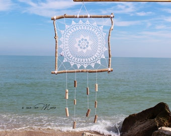 Wooden dream catcher, white lace wall dream and wood of the Adriatic Sea handmade in Italy, boho decoration