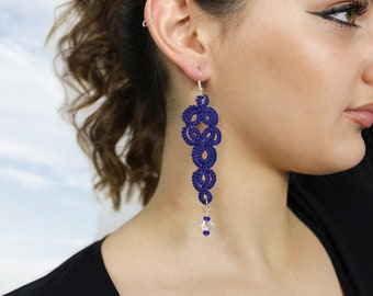 Blue drop earrings with lace and beads