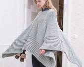 Hand knitted mint poncho . Long sweater. One size. Spring/Summer/Fall/Winter. German high quality yarn. 26 colors. Made-to-order