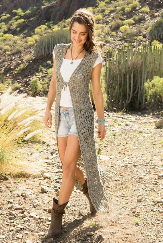 Hand to long S vest cotton Chunky Boho XS ship khaki Ready style Organic crocheted yarn 1fwEEaq