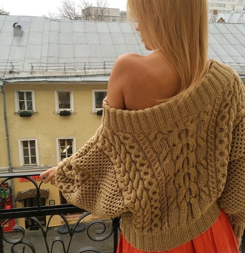 Cable knit sweater. Chunky oversized. Off-the-shoulder. Hand  053da18b6