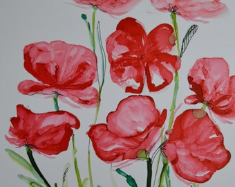 Poppies Alcohol Ink Art