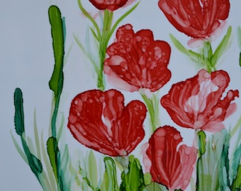 Alcohol Ink Art- Poppies