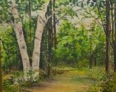 Antique Original Summer Landscape Oil Painting Signed E. M. McHugh Forest Trail Birch Trees Framed 13.5x10.5