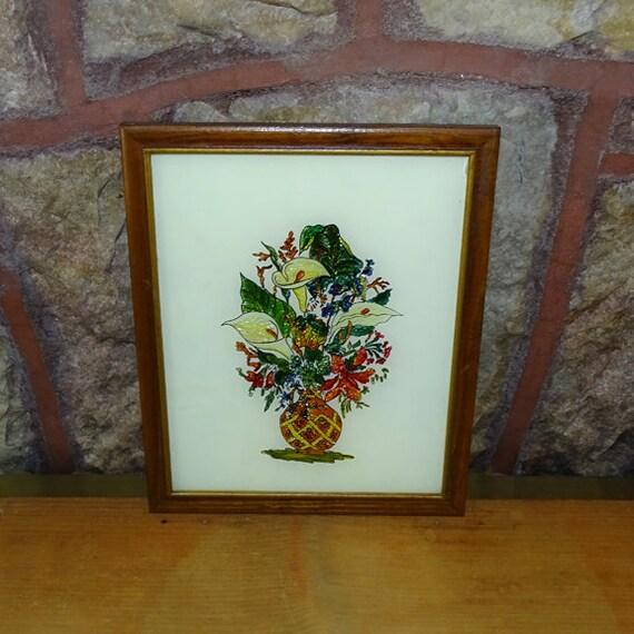 Vtg Framed Reverse Painting On Glass Foil Art Flower And Vase Etsy
