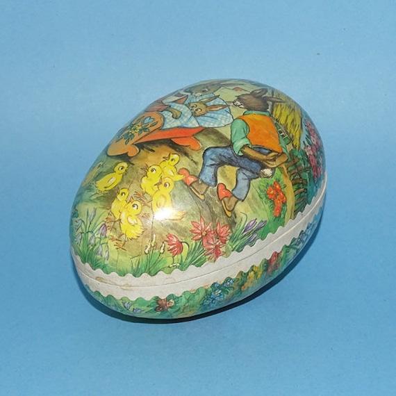 Vintage Large Foil Golden Easter Egg Candy Container