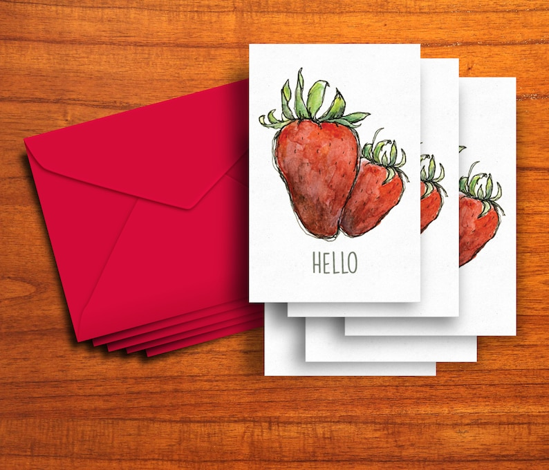 Set of 5 cards Love Note Card Hello  Friendship Thinking of You Strawberry Cards