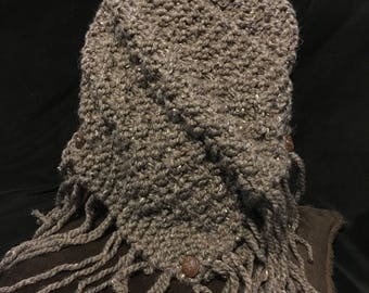 Women's hand knitted tweed cowl with three buttons and fringe.