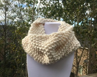 Clearance!! Women's cream, hand knitted, chunky cowl scarf.