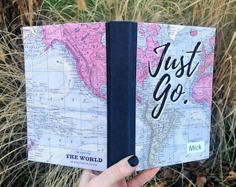 Travel Journal, Adventure Journal, Travel Journal with Pocket, Handlettered Map, Just Go, traveler's journal, personalized