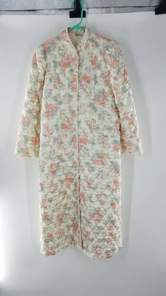 Vintage Miss Elaine Satin Quilted Floral Bathrobe