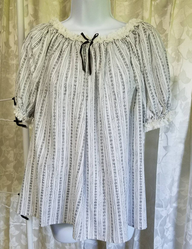 ROCKABILLY Western Cotton Short Sleeve Peasant Style Blouse Large Square Dance