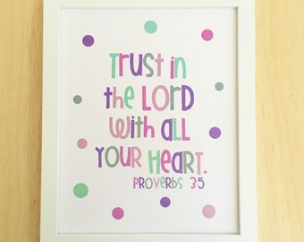 Printable Christian Wall Art, Bible Verse Print, Trust in the Lord, Proverbs 3:5, Scripture Quote, Purple Wall Art, Dorm Room Decor 8x10.