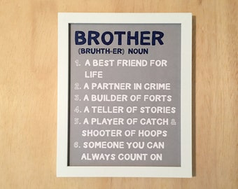Definition of a brother. Boys nursery art. Brother wall art. Brother printable. Boys room sign. Nursery art print. Instant download. 8x10.