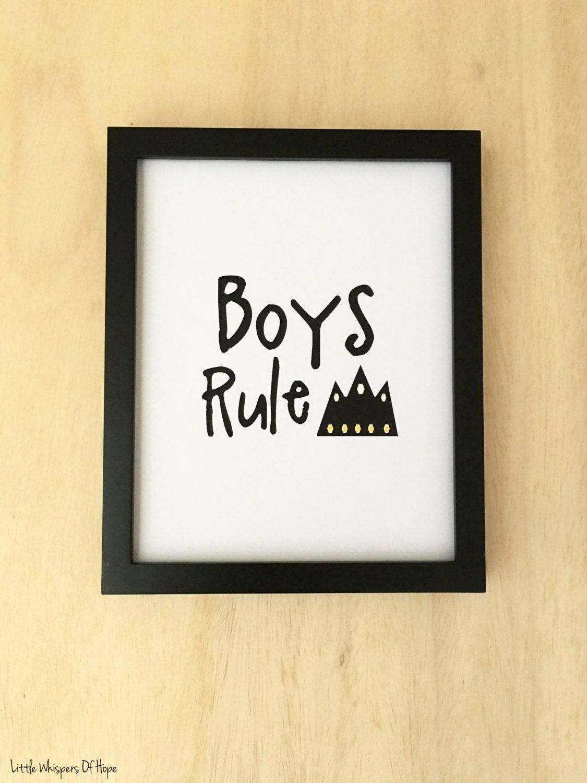 Printable boys nursery wall art. Boys Rule. Boys inspirational | Etsy