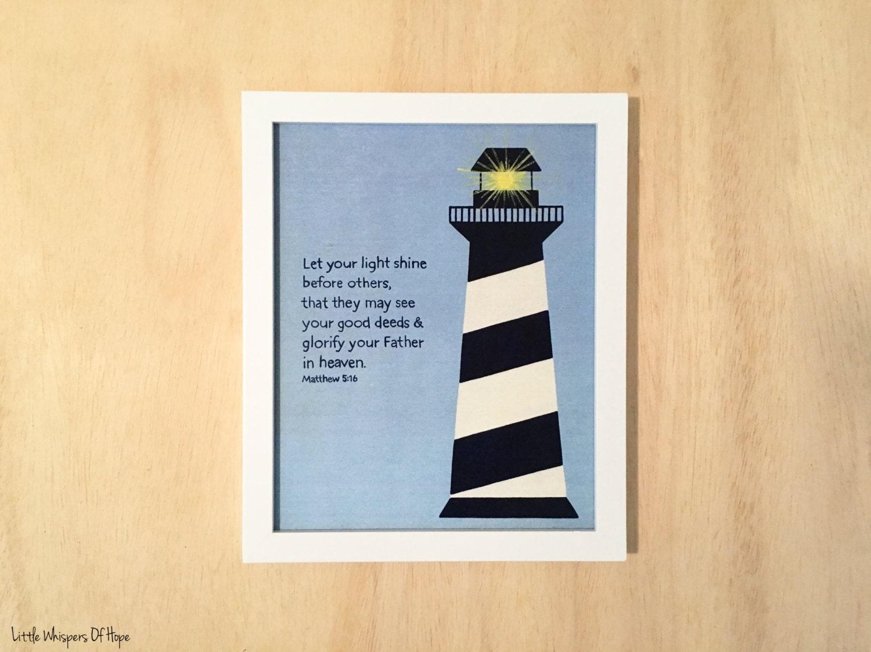 Nautical wall decor. Let your light shine. Matthew 5:16 Bible   Etsy