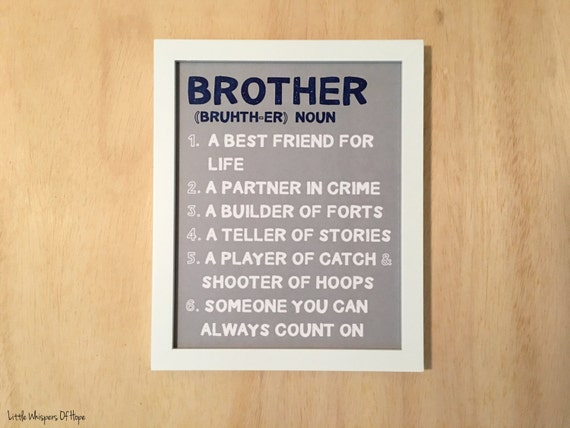 Definition of a brother. Boys nursery art. Brother wall art. | Etsy