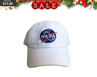 29e9b186c1b NASA Logo Black White Hat Cap Dad Hat Embroidered