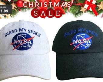 2e5ea5bda67 NASA I Need My Space Hat Cap Dad Hat Embroidered Black White