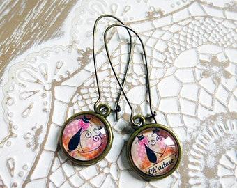 Ch earrings ' love black pink sleeper hoops cabochons 12 mm diameter handmade