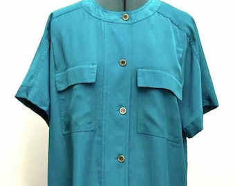 Josephine Turquoise Silky Polyester Short Sleeved Pocketed Blouse Size 12