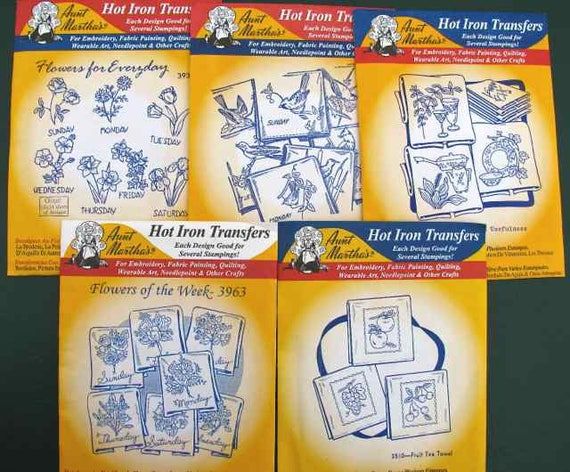 Flowers of the Week #3963 Aunt Martha/'s Hot Iron Embroidery Transfer Pattern