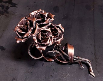 """Copper Roses """"Family"""" (4) #1668e *SAVE 10% SEE BELOW* Valentine's Day Mother's Day Christmas Anniversary Wedding Housewarming Steampunk Gift"""