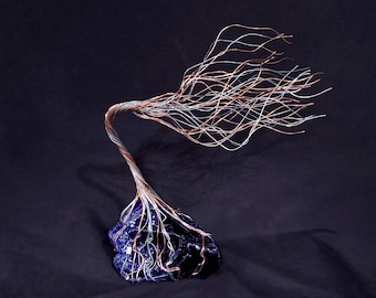 Glass Copper & Silver Wire Spirit Tree #1969 *SAVE 10% SEE BELOW* Steampunk Housewarming Anniversary Wedding Mother's Day Christmas Gift