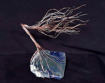 Glass, Copper & Silver Wire Spirit Tree #1965 *SAVE 10% SEE BELOW* Steampunk Housewarming Anniversary Wedding Mother's Day Christmas Gift