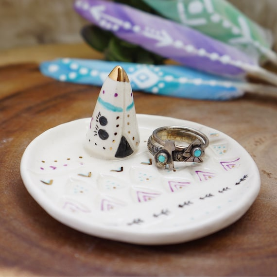 Tee Pee  ceramic Ring Cone dish, Ring Holder, Boho Jewelry, jewelry ring holder, handmade ring holder