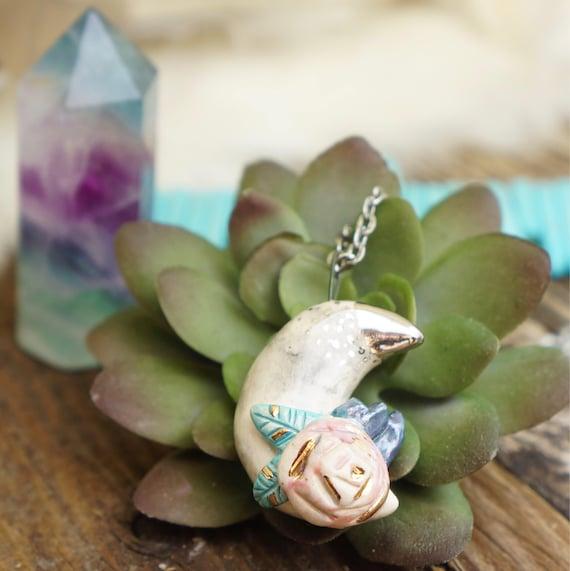 Boho flower crystal moon ceramic Necklace , crystal necklace, moon jewelry, Boho Jewelry, ceramic animal jewelry