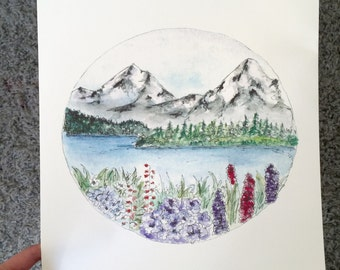 11x14 Mountain landscape Watercolor Art Print, Snow Mountain Flowers Art Print, Circle Mountain Art,, Cabin Art, Rustic Chic Art