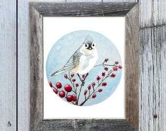 8x10 Winter Mountain Bird Watercolor Art Print,  Circle Art, Rustic Art, Cabin Chic Art, Rustic Chic Art