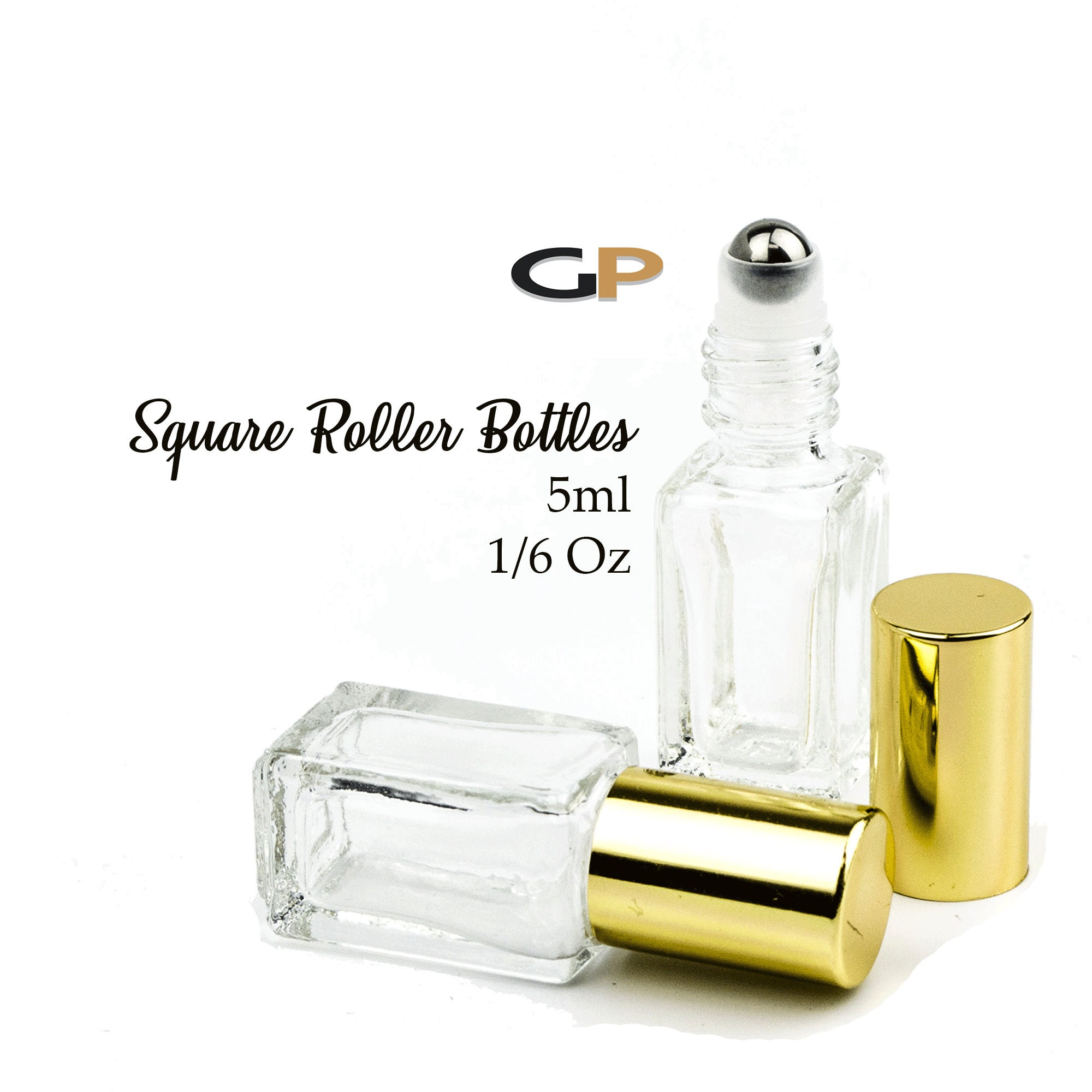 67377c988a73 3.7ml PREMIUM Roller Bottle SQUARE Clear Glass Shiny or Matte Silver ...