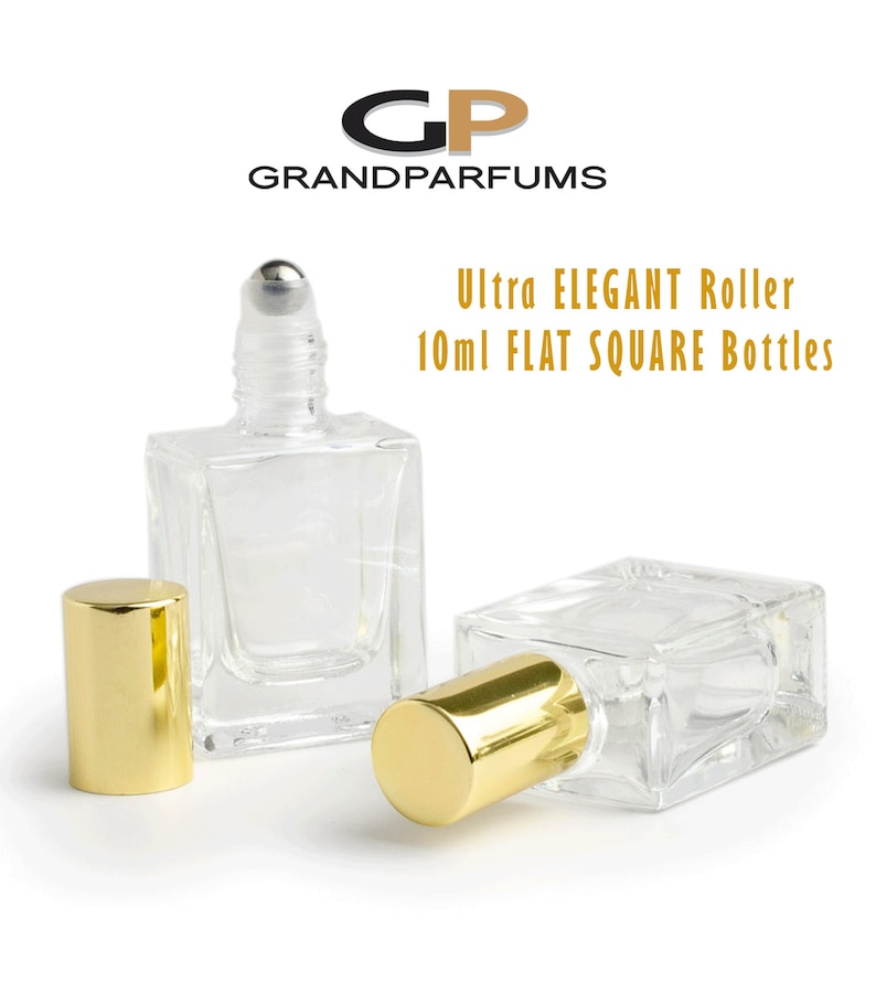799c79afe783 Ultra LUXURY 10ml FLAT SQUARE Glass Roller Bottle Gold or Silver Cap  Essential Oil Blends | Perfume | Cologne Steel Roller 1/3 Oz Single
