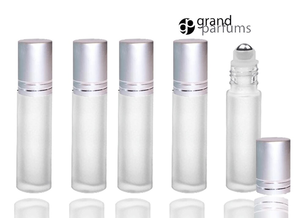 0a13b1c08788 12 FROSTED 10ml Deluxe Roll On Bottles w/ Stainless Steel Roller Balls  Essential Oil Perfume Lip Gloss Roller MATTE Silver Cap Shiny Accents