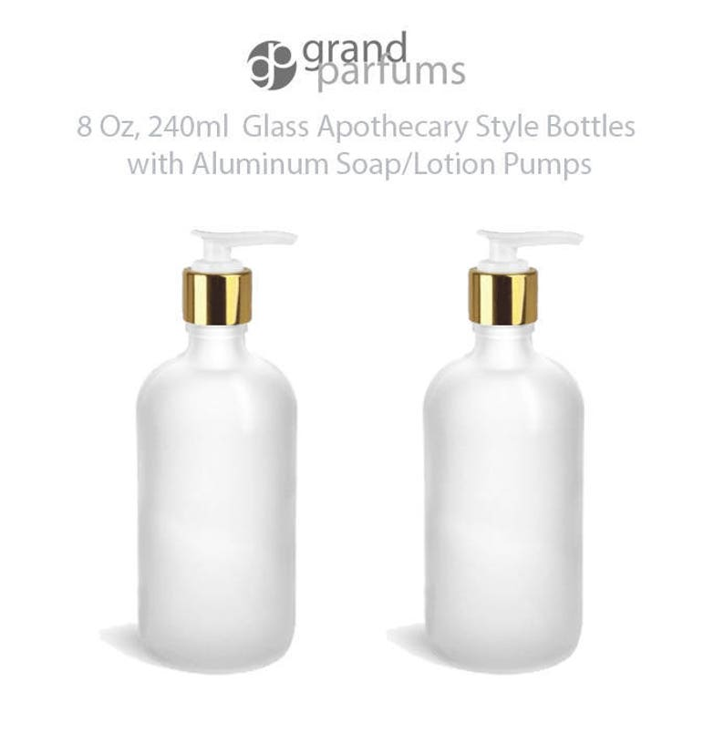 07631eeb0fb9 1 Glass Lotion Pump Bottle, CLEAR FROSTED 8 Oz Bottles Shampoo Liquid Soap  Hand Cream Apothecary w/ Shiny Gold ALUMINUM Overshell Pumps