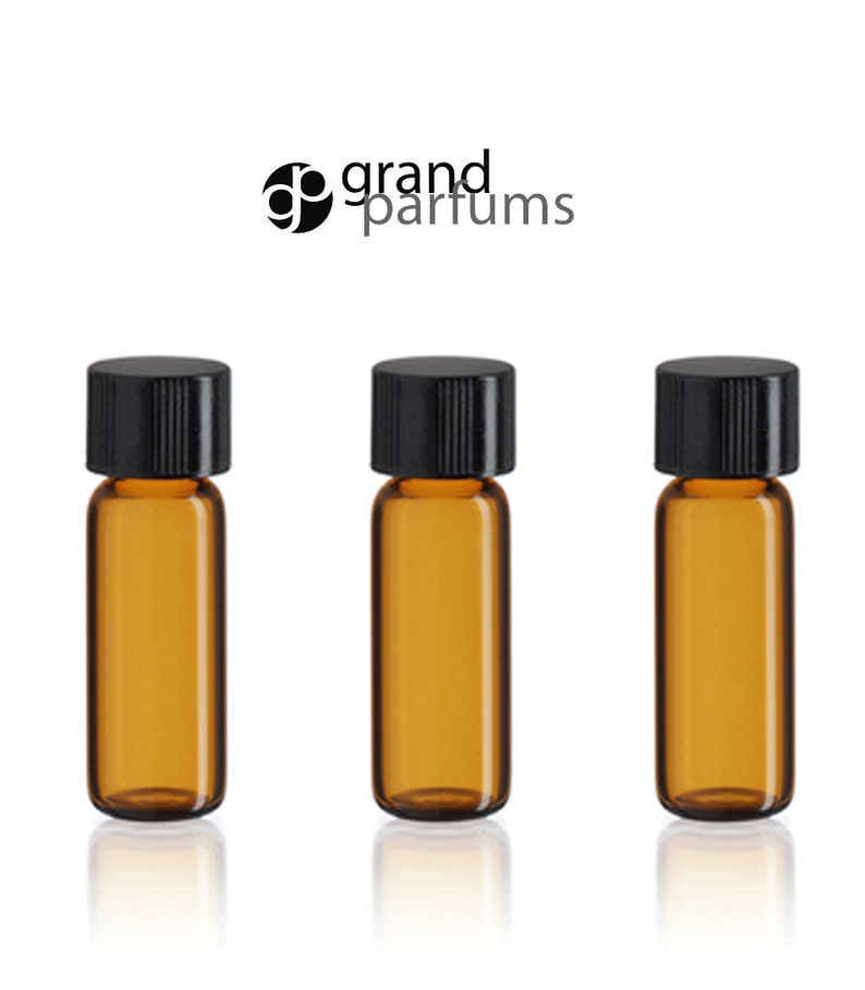 242e99061af1 36 Amber Glass 2ml Essential Oil Sample Vials Bottles 1/2 DRAM 2 ml w/  Black Caps Essential Oil Carrier Oil Cosmetic Sampler Bulk Wholesale